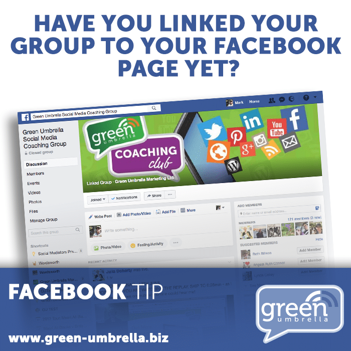 Facebook tip: Have you Linked Your Group to Your Facebook Page Yet?