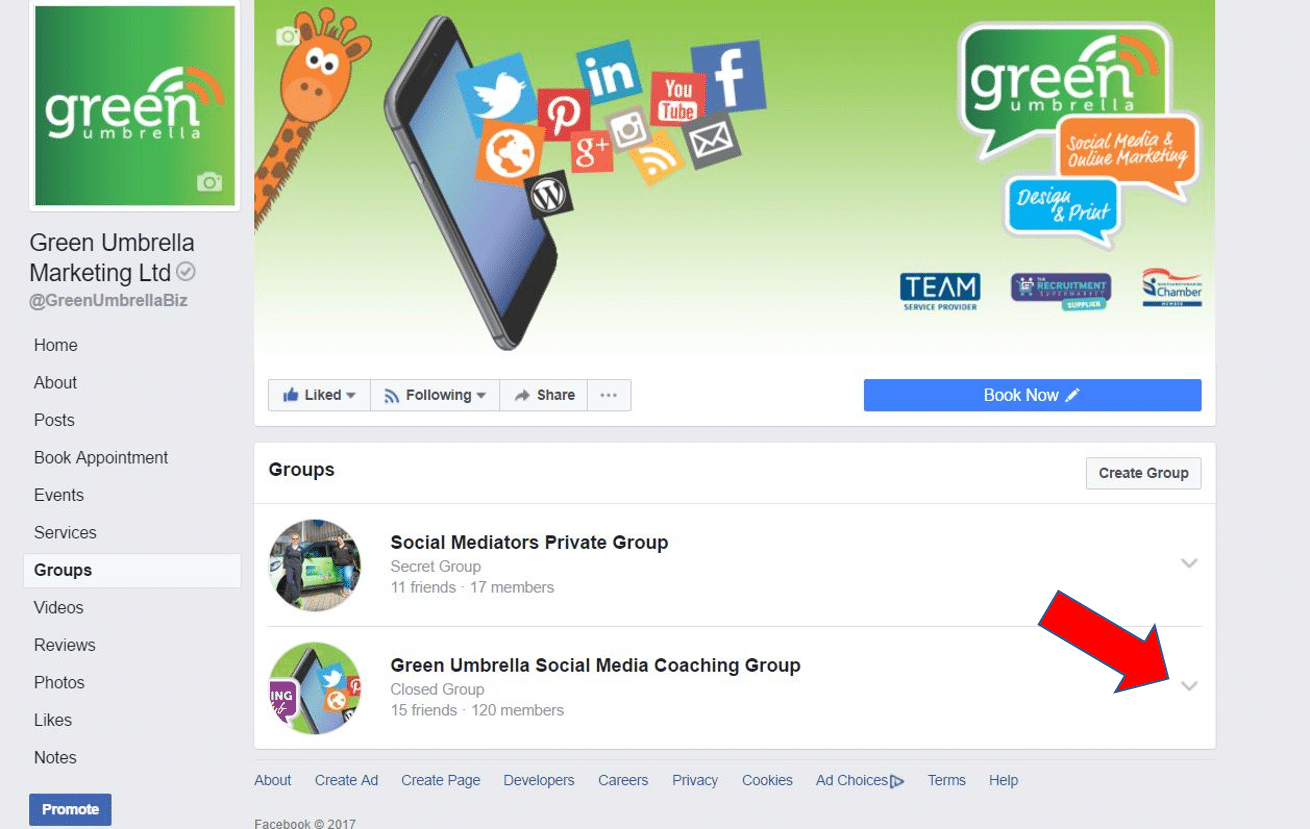 select group to link to facebook