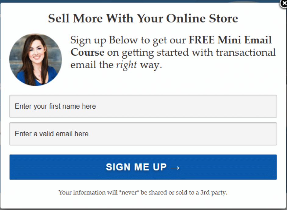 sign up to email marketing