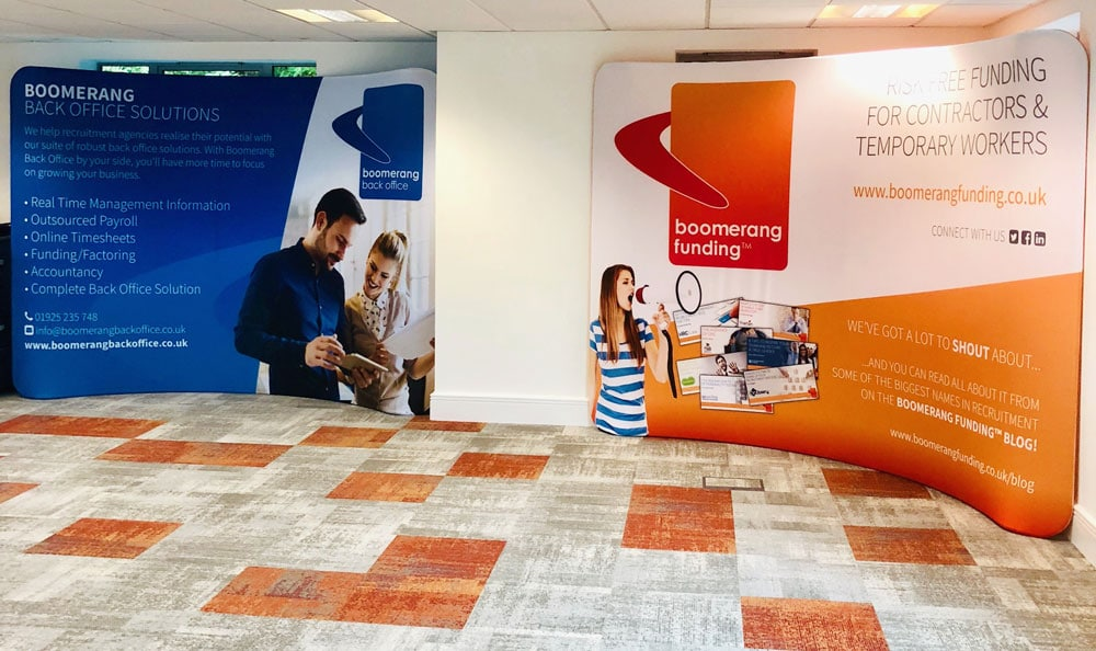 Fabric Stands designed and printed for Boomerang Funding and Back Office