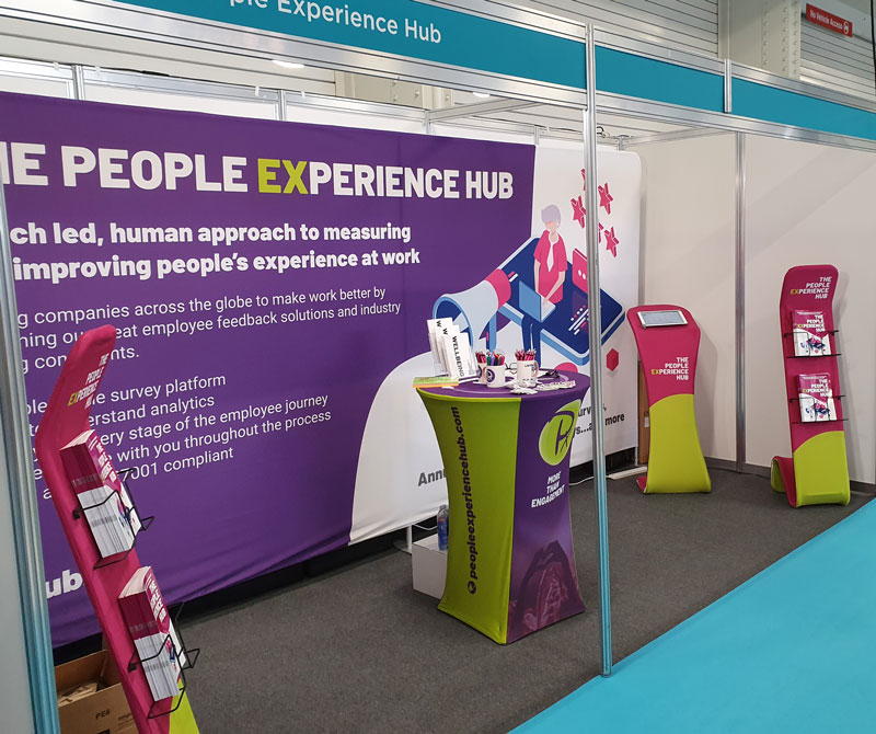 Design and Print of an XL Fabric Stand along with an iPad Stand, Literature Stands and a Table for The People Experience Hub
