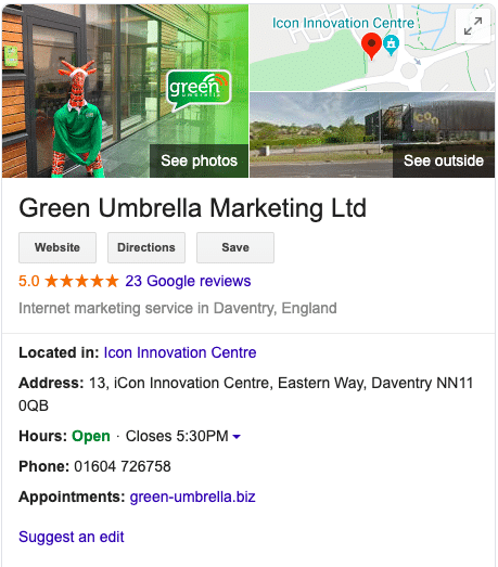 Green Umbrella Marketing Google my Business listing