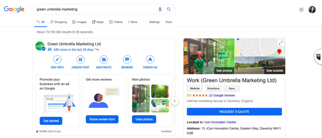 Green Umbrella Marketing - Google my Business logged in