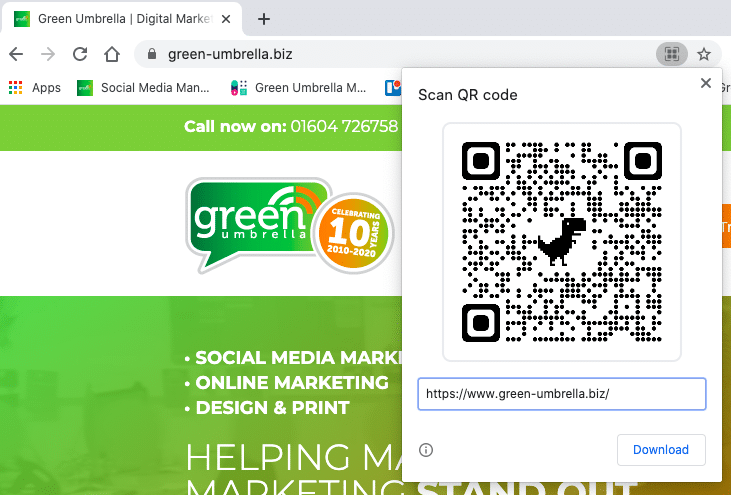 QR codes on Chrome